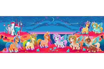 Einhörner und Pegasus in einer Fantasy-Landschaft