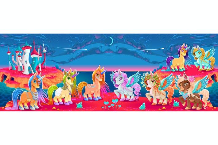 Thumbnail for Einhörner und Pegasus in einer Fantasy-Landschaft