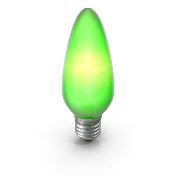 Pointy Lightbulb Green Turned On