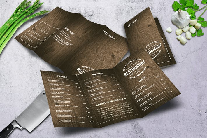 Thumbnail for Wild Wood A4 TriFold Menu - 2 Color Versions