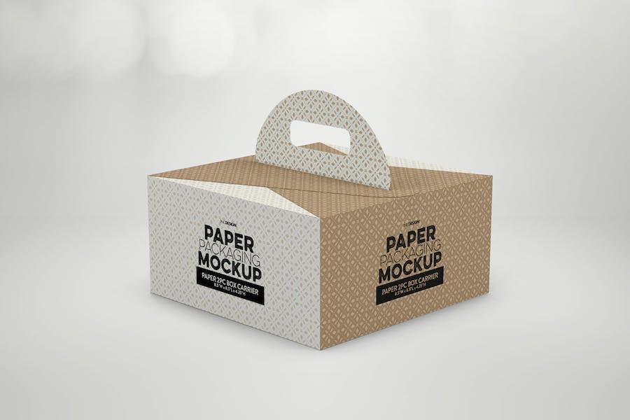 2pc PaperBox Carrier PackagingMockup