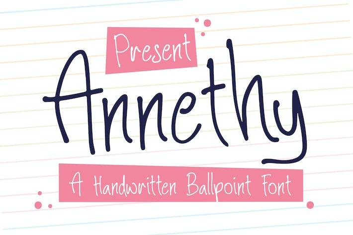 Thumbnail for Annethy - A Handwritten Ballpoint Font