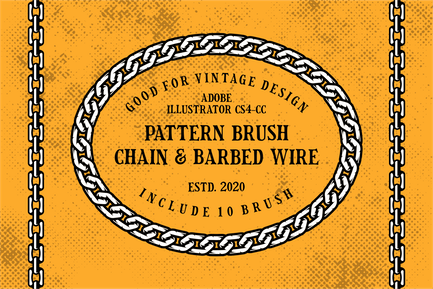 Chain and Barbed Wire Pattern Brushes Illustrator