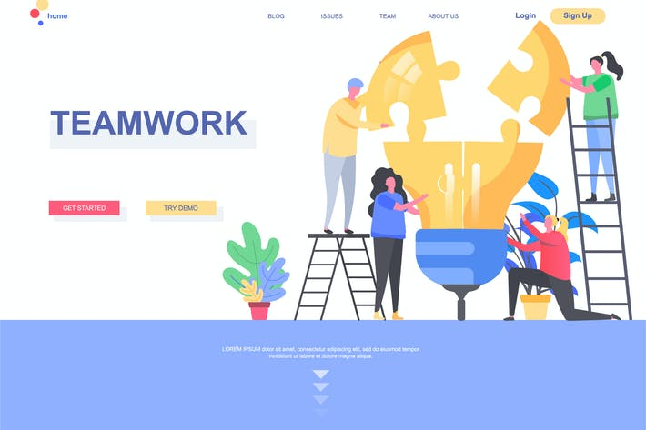 Thumbnail for Teamwork Landing Page Template