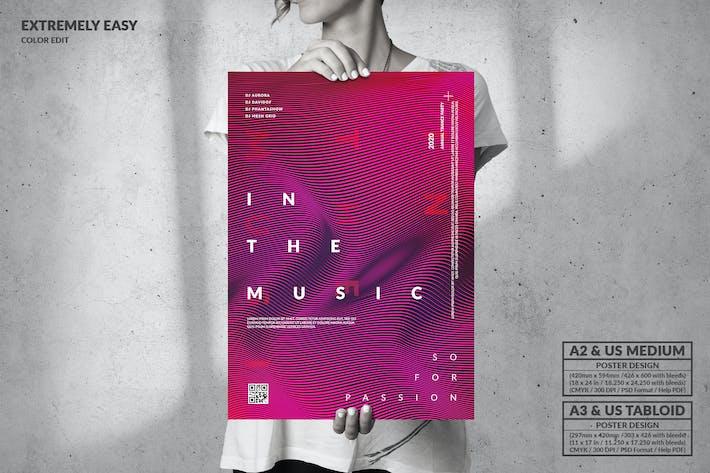 Thumbnail for Modern Wavy Poster Design - Music Event