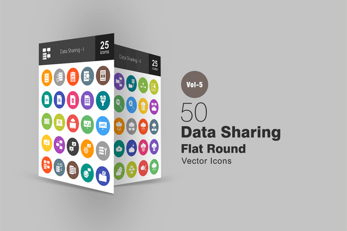 Cover Image For 50 Data Sharing Flat Round Icons