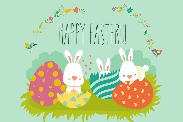 Cover Image For Easter bunny with colorful egg. Vector