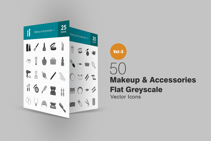 50 Makeup & Accessories Greyscale Icons