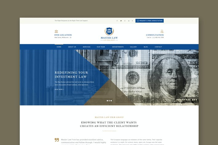 Cover Image For Law Master - Attorney & Lawyer PSD Template