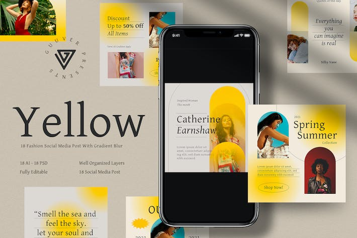 Thumbnail for Yellow 18 Social Media Posts