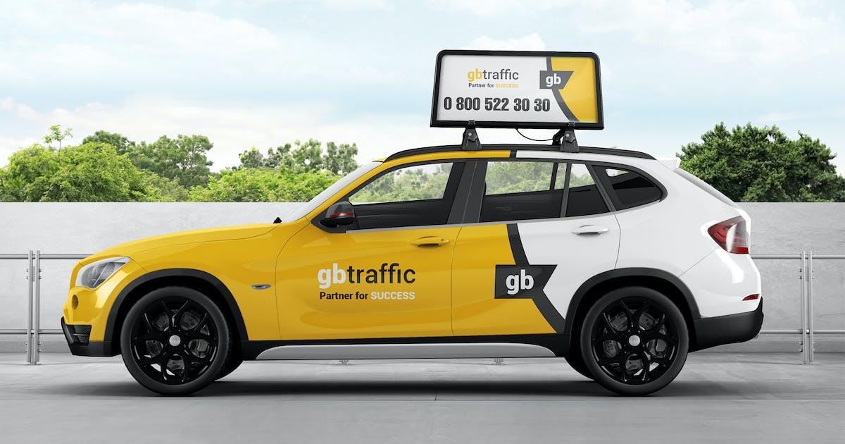 Download Car Roof Advertising Display Board Mockup by StreetD