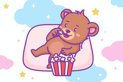 Bär isst Popcorn
