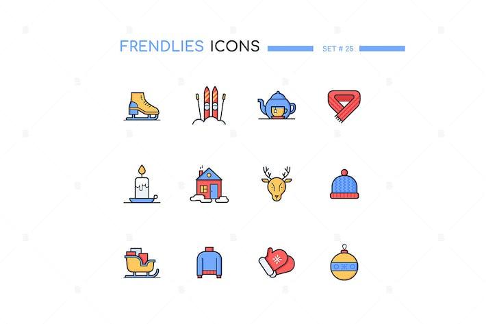 Thumbnail for Winter - modern line design style icons set