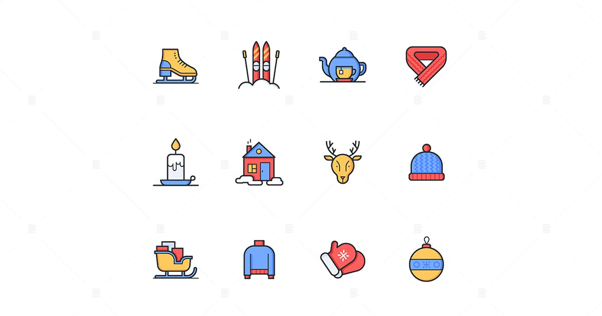 Download Winter - modern line design style icons set by BoykoPictures