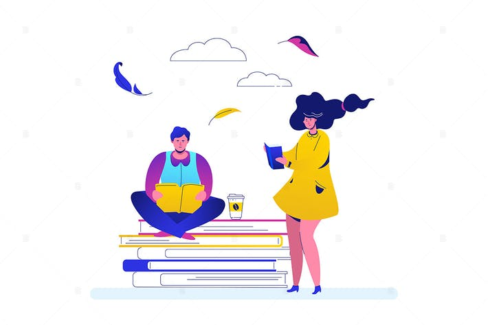 Thumbnail for Reading - flat design style colorful illustration