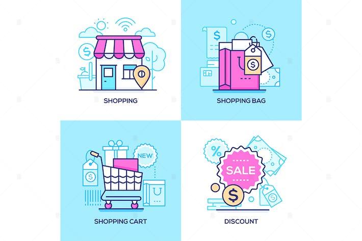 Thumbnail for Электронная коммерция - линии дизайн стиль иллюстрации