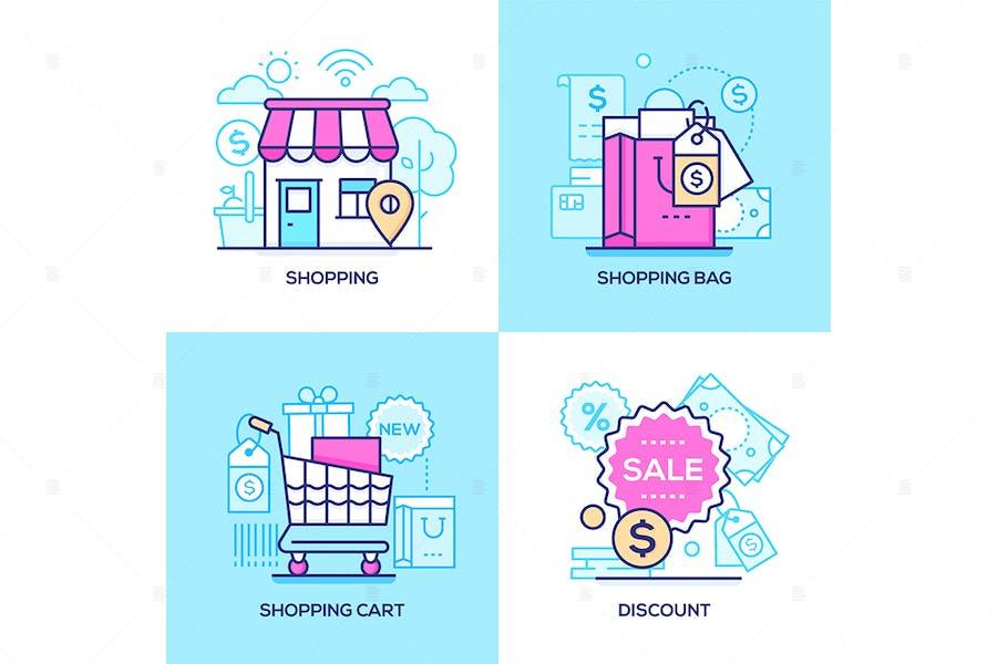 E-commerce - line design style illustrations