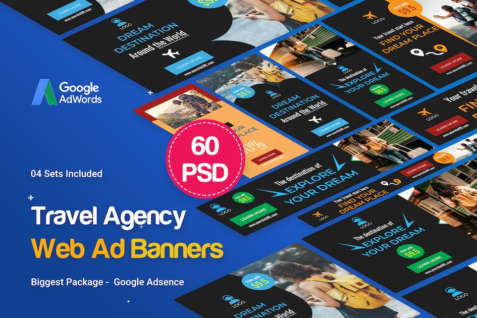 Download Travel Agency Banner Ad - 60 PSD [04 Sets] by iDoodle
