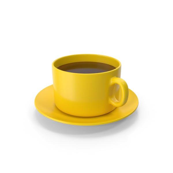 Taza de café con plato amarillo