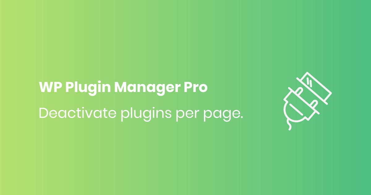 Download WP Plugin Manager Pro - Deactivate plugin per page by codecarnival
