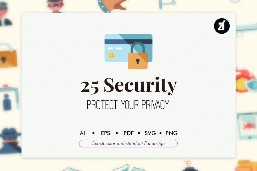 25 Security and crimes elements in flat design