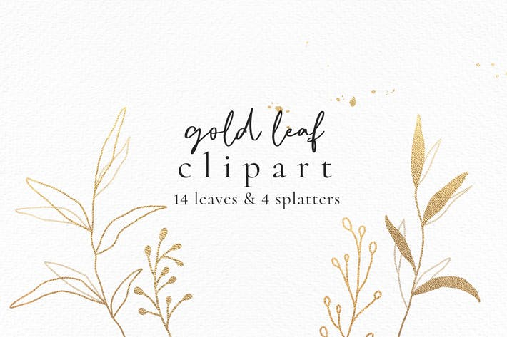 Thumbnail for Gold botanic leaf wedding clipart
