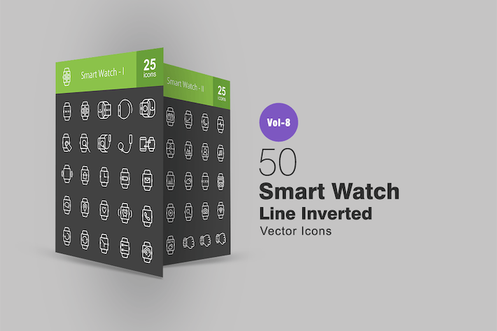 Thumbnail for 50 Smart Watch Line Inverted Icons