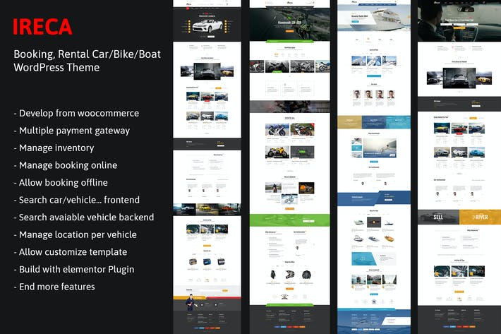 Car, Boat, Bike Booking Rental Theme - Ireca