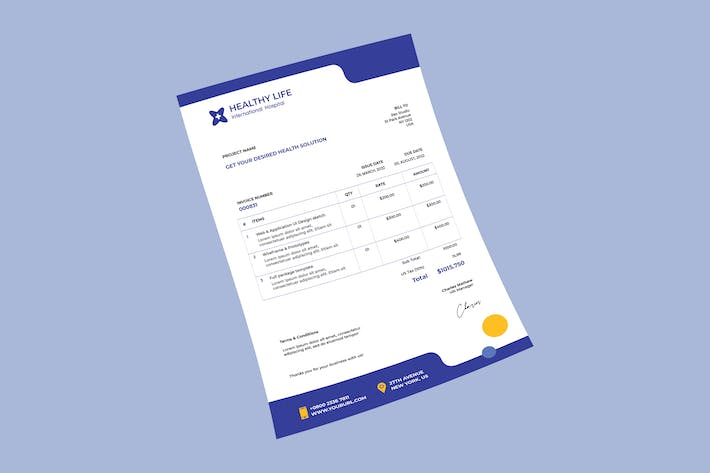 Thumbnail for Medical healthy invoice PSD Template