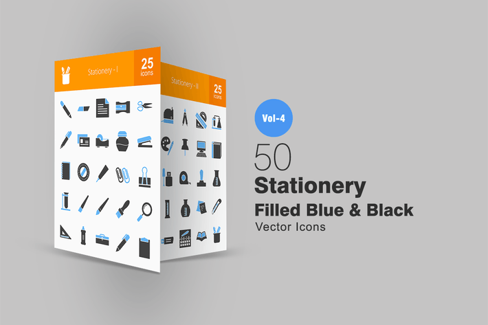 Thumbnail for 50 Stationery Blue & Black Icons