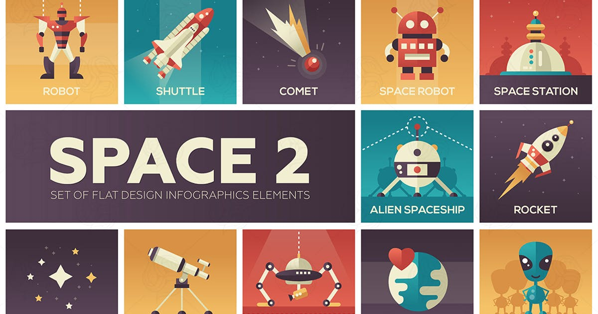 Download Space - set of flat design infographics elements by Unknow
