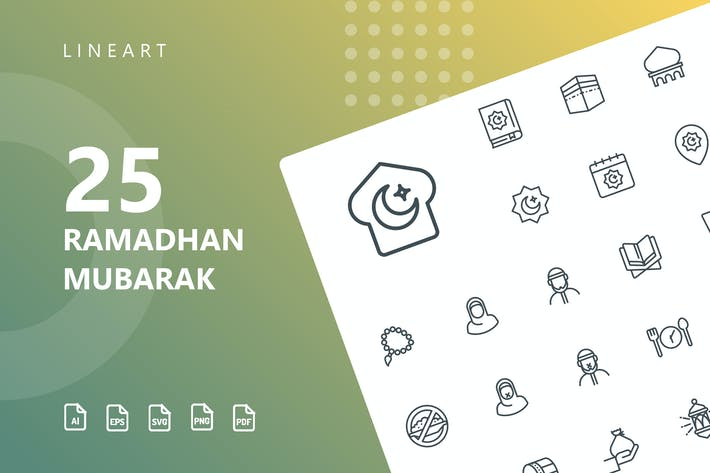 Thumbnail for Ramadhan Mubarak Line Icons