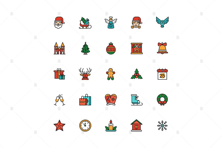 December holiday symbols colorful linear icons set