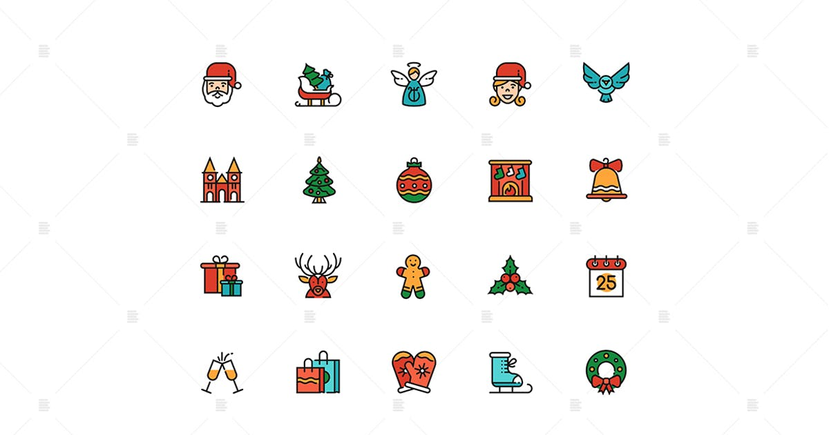 Download December holiday symbols colorful linear icons set by BoykoPictures