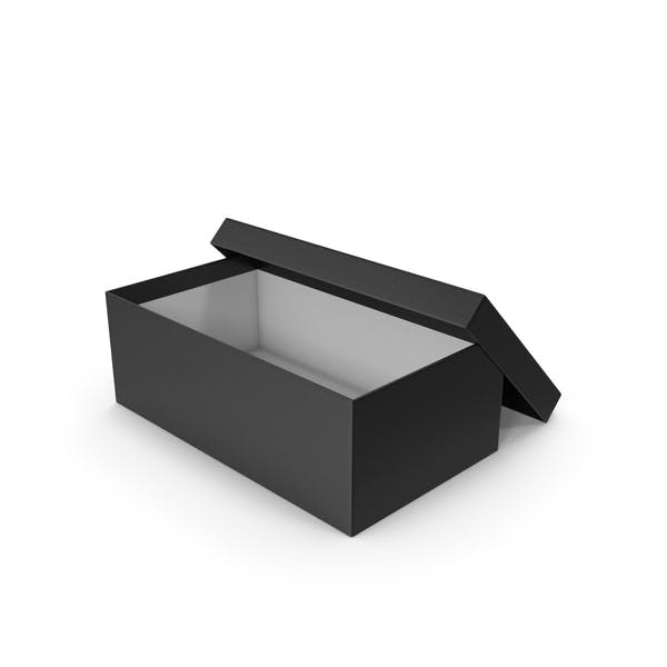 Caja de zapatos negra abierta