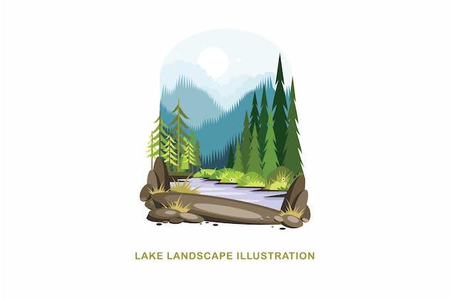 Lake Landscape Vector Illustration