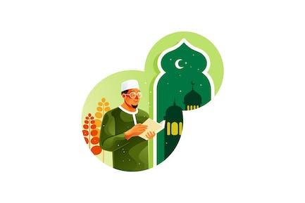 Muslim Reading Koran in the Mosque