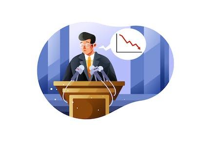 Press conference on economic crisis