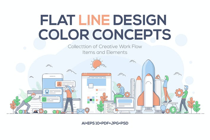 Thumbnail for Modern Flat Line design Business concepts