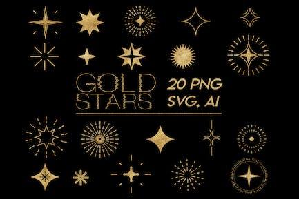 Gold Stars Clipart. Gold Foil Stars Elements Sky.