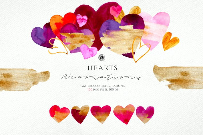 Thumbnail for Hearts - Watercolor Illustrations