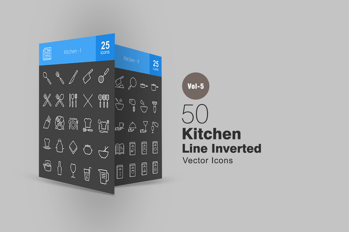 Cover Image For 50 Kitchen Line Inverted Icons