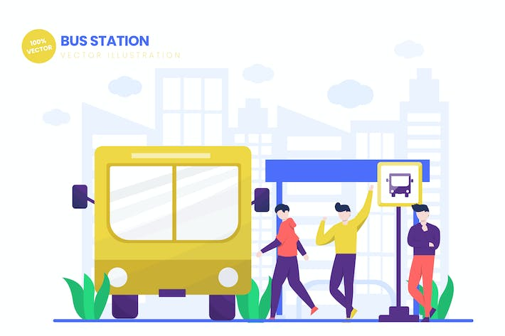 Thumbnail for Bus Station Flat Vector Illustration