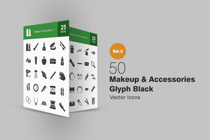 Thumbnail for 50 Makeup & Accessories Glyph Icons