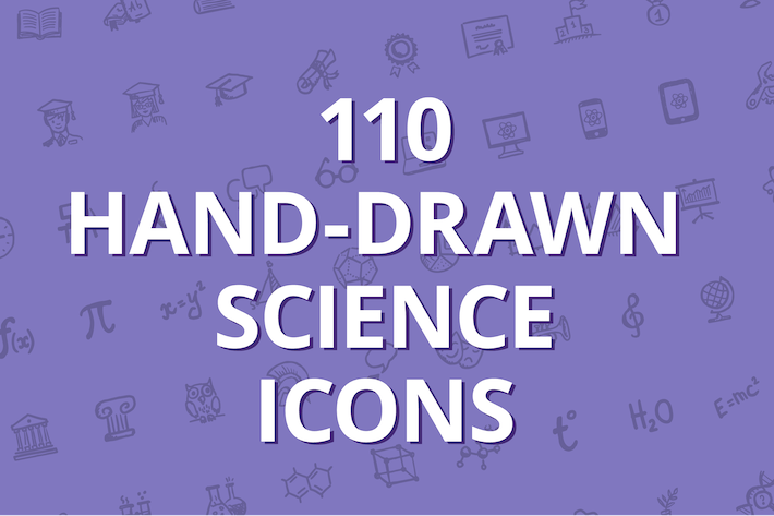Thumbnail for 110 hand-drawn science icons
