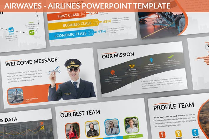 Thumbnail for Airwaves - Airlines Powerpoint Template