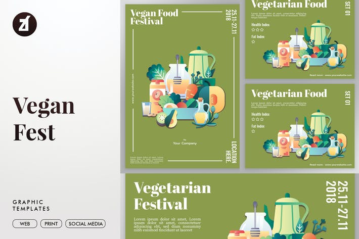 Thumbnail for Vegan fest graphic templates