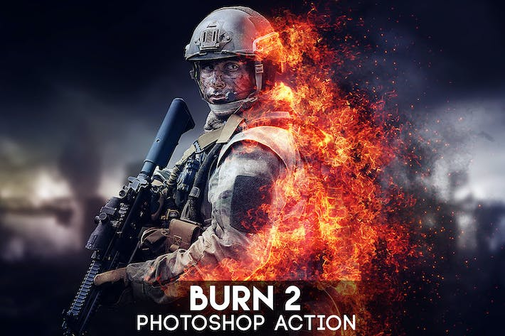 Thumbnail for Burn 2 Photoshop Action