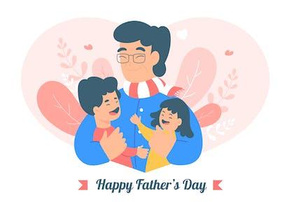 Glücklicher Vatertag - Flache Illustration