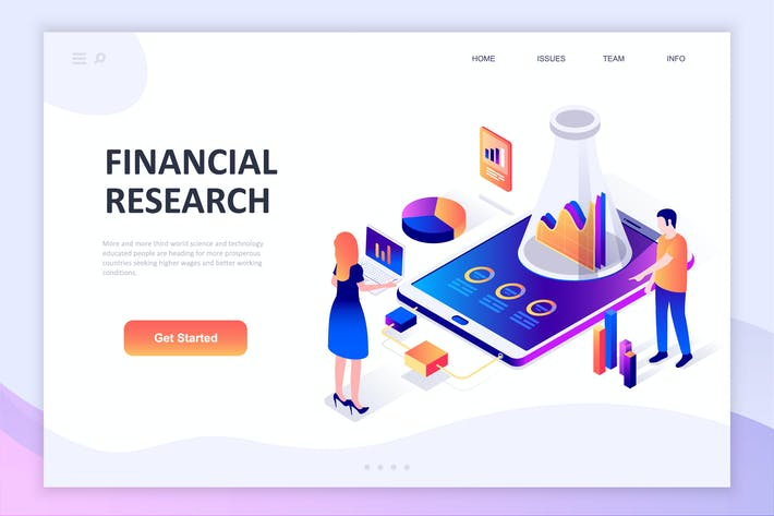 Financial Research Isometric Concept
